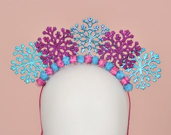 Festive Christmas Snowflake Halo Headband in Pink and Blue