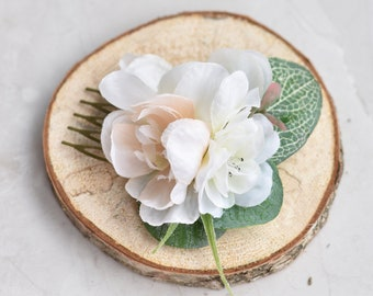 Small Ivory and Blush Pink Blossom and Eucalyptus  Hair Comb