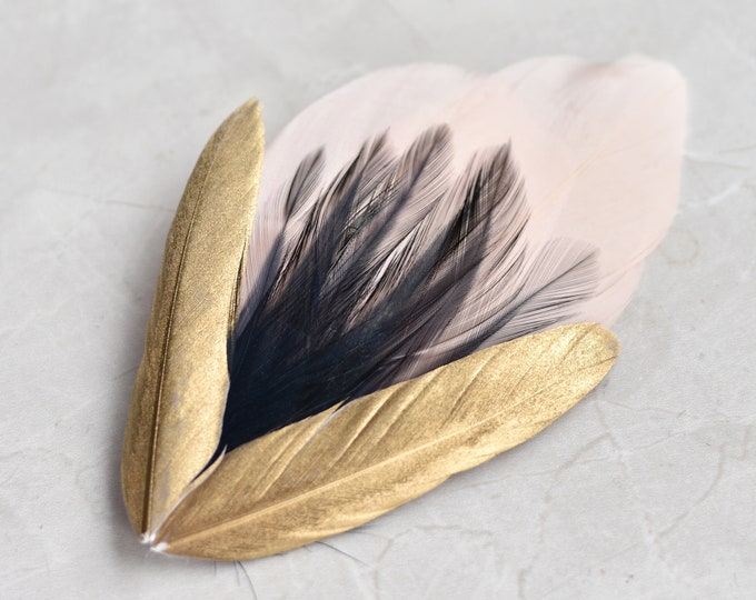 Feather Hair Clip in Peach Blush, Navy and Gold