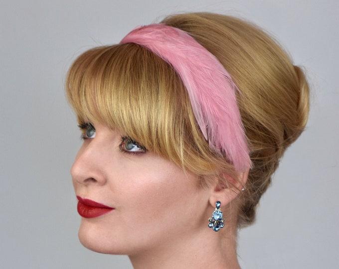 Feather Headband in Dusky Pastel Pink
