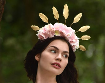 Pastel Pink Hydrangea Flower Crown with Gold Feather Detail
