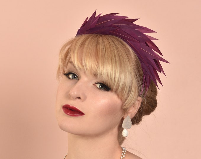 Plum Purple Spiked Feather Halo Headband