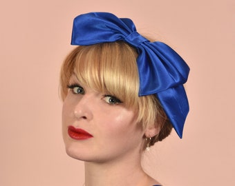 Cobalt Blue Hair Bow Headband | Bow Headband | Retro Headband | Quirky Hair Accessory