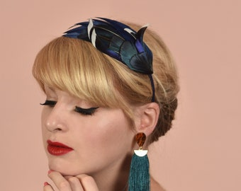 Navy Blue Duck  Feather Headband Fascinator