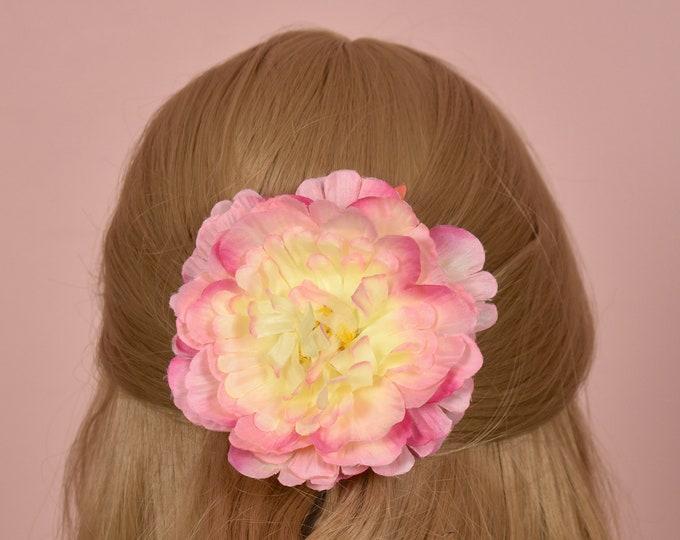 Pink Peony Rose Hair Clip