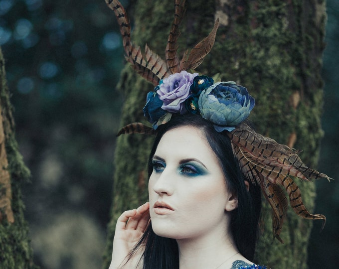 Flower and Pheasant Feather Headpiece in Lilac and Blue