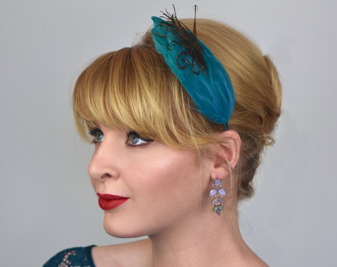 Feather Headband Fascinator in Teal and Peacock