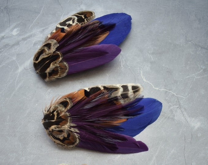 Pheasant Feather Hair Clip in Plum and Navy