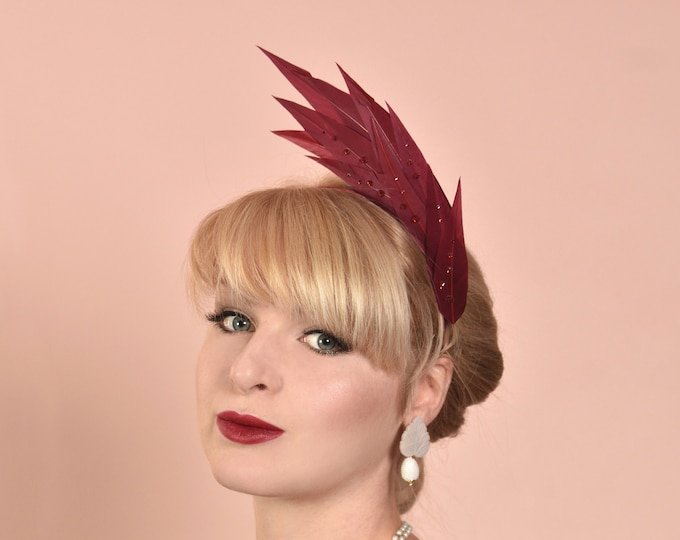 Crimson Flame Feather Headpiece with Swarovski Crystals