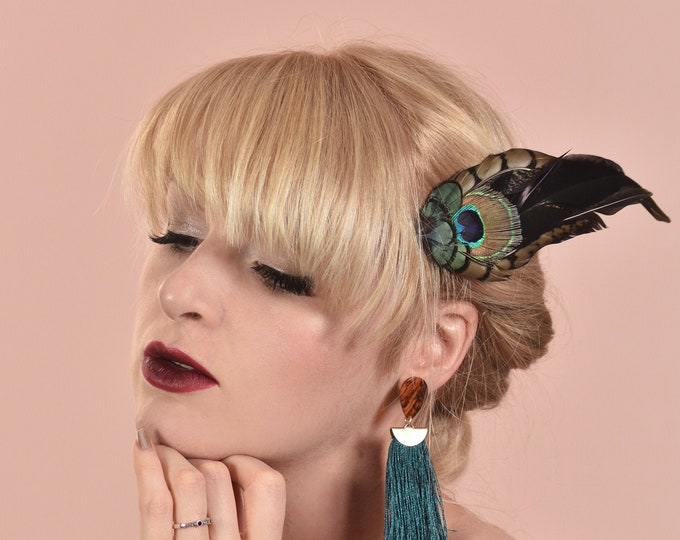 Feather Hair Clip Fascinator Peacock Eye and Pheasant Feathers