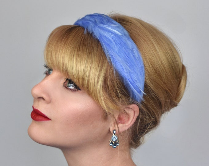 Feather Headband in Cornflower Blue