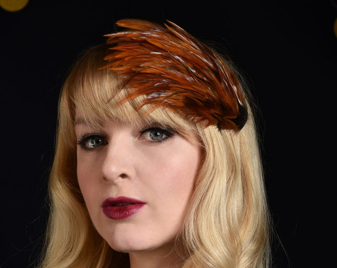 Feather Fascinator in Glossy Copper Fine Rooster Feathers
