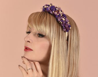 Dried Flower Crown Headband in Off White, Pink and Purple