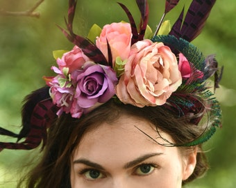 Pink and Purple Flower and Pheasant Feather Headpiece