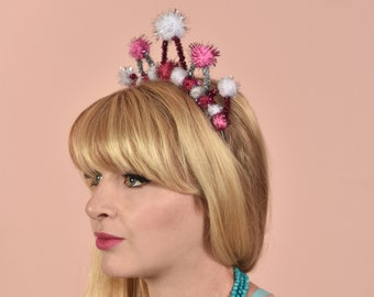 Tinsel Crown Headband in Pink