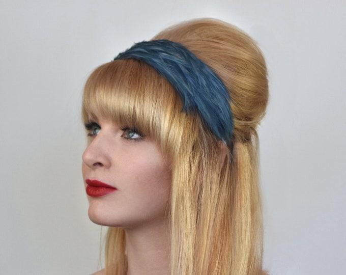 Feather Headband in Grey Blue