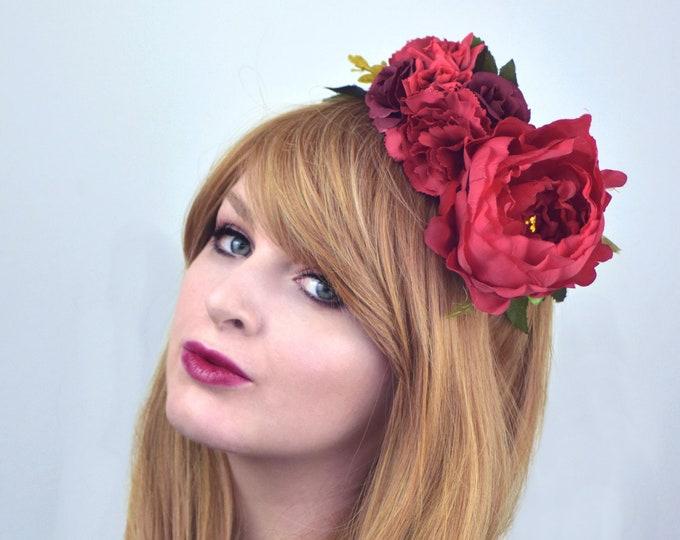 Red Half Flower Crown Headband