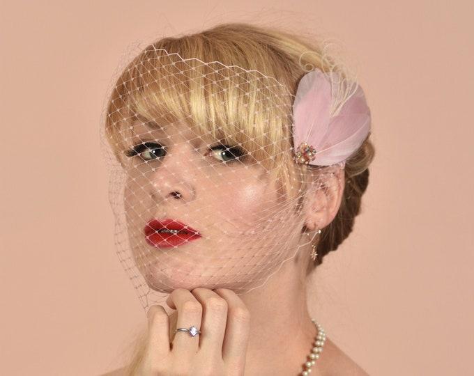 Pastel Pink Birdcage Bandeau Net Veil