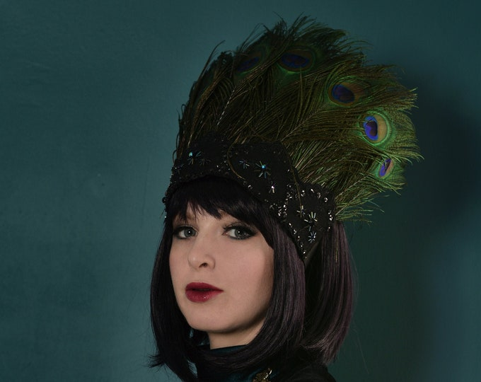 Peacock Feather Crown Headpiece with Beading and sequins