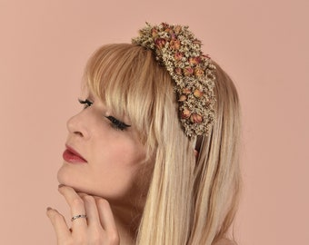 Dried Flower Crown Headband in Off White with Apricot and Pink Rose Buds