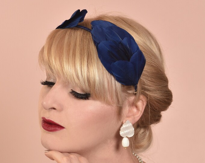Navy Blue Double Wing Feather Halo Headband
