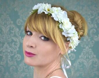 White Blossom Bridal Flower Crown Garland