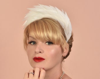 Soft White Spiked Feather Halo Headband