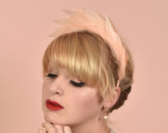 Blush Pink Spiked Feather Halo Headband