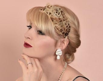 Ash Blonde Hen Pheasant Feather Headband Fascinator