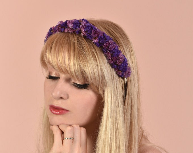 Dried Flower Halo Crown Hair Wreath in Purple and Pink
