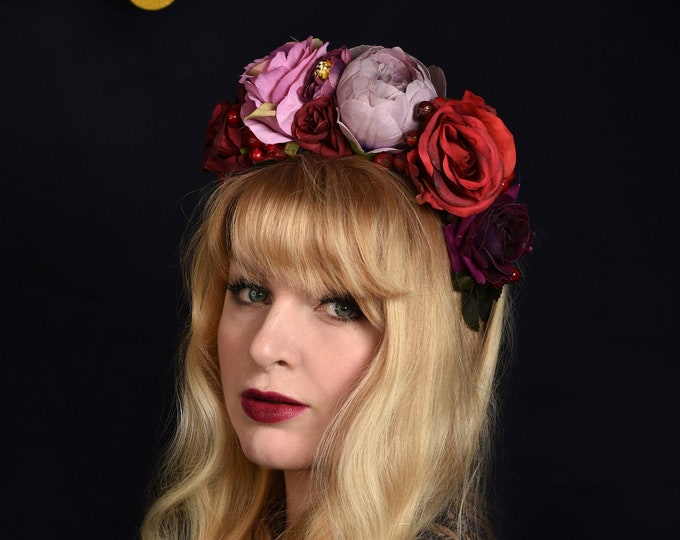 Orla - Flower Crown Headpiece in Purple and Red