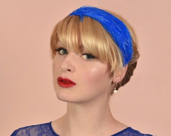 Feather Headband in Royal Blue