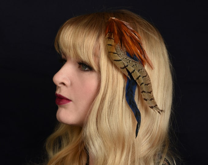 Copper, Gold  and Navy Blue Feather Hair Clip Fascinator