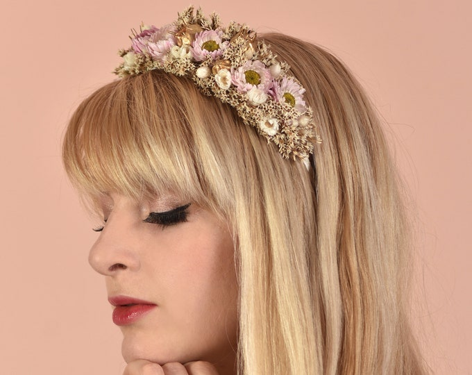 Dried Flower Headband in Off White, Pink and Gold
