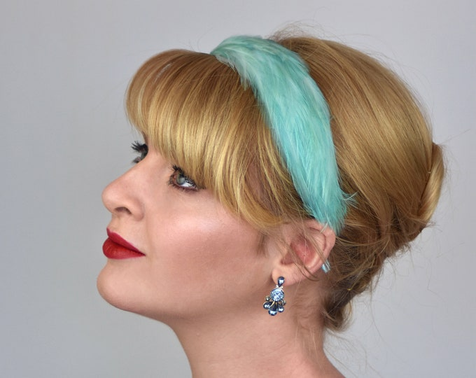 Feather Headband in Aqua Turquoise