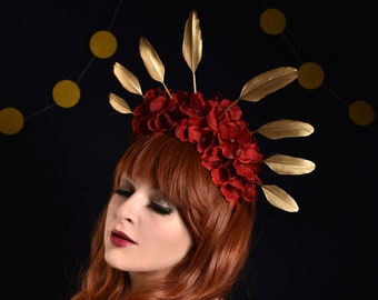 Crimson Red Hydrangea Flower Crown with Gold Feather Detail