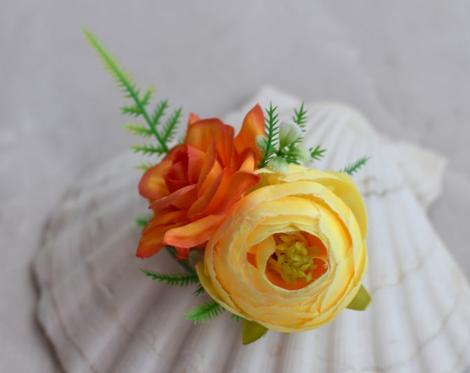 Tropical Orange and Yellow Silk Flower Hair Clip