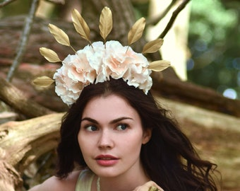 Blush Hydrangea Flower Crown with Gold Feather Detail