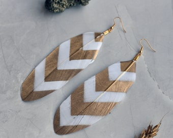 Gold and White Chevron Feather Earrings