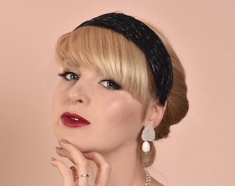 Feather Headband in Deep Navy Blue