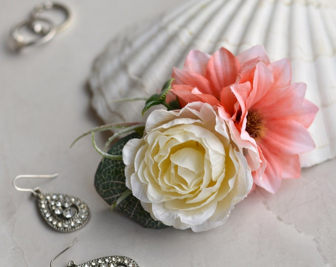 Silk Flower Hair Clip in Pink and Ivory Peony and Daisies