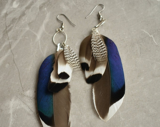 Navy Blue Duck Feather Earrings No. 2