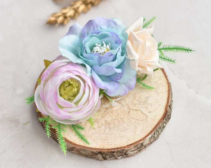 Silk Flower Hair Clip in Pastel Pink and Blue Roses and Ranunculus