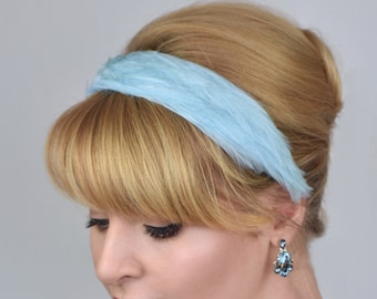 Feather Headband in Pastel Blue
