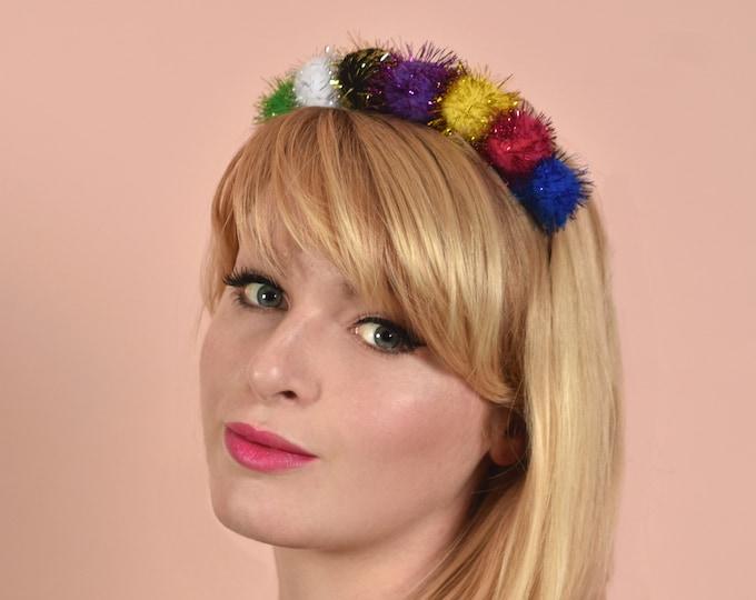 Tinsel Pom Pom Headband