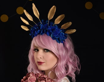 Royal Blue Hydrangea Flower Crown with Gold Feather Detail