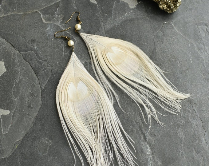 White and Opal  Peacock Feather Earrings
