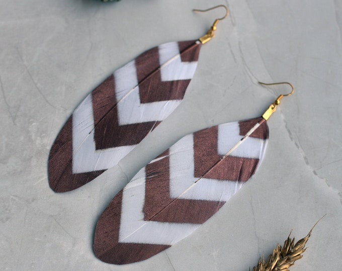 Rose Gold and White Chevron Feather Earrings