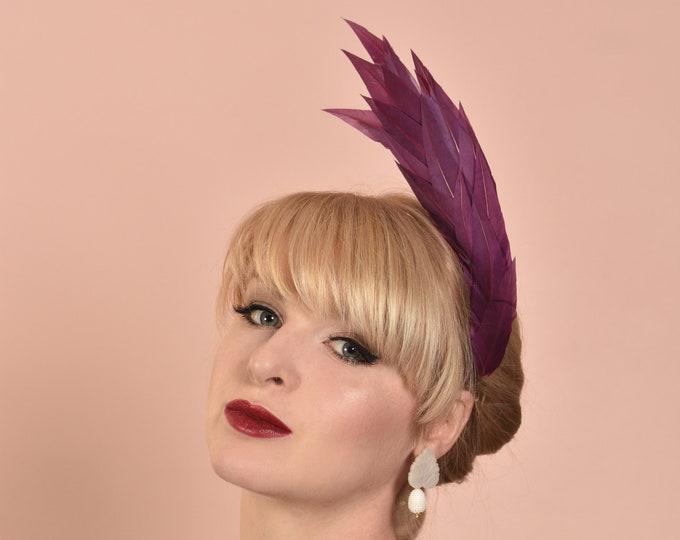 Sculptural Plum Purple Feather Headband