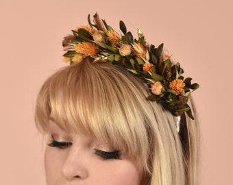 Harvest Gold Dried Flower Headband in Copper, Yellow and Gold
